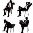 Stock Vector: Businessmsitting on chair