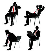 Businessman sitting on the chair — Cтоковый вектор
