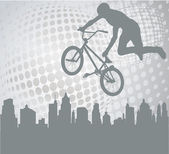 Bmx cyclist silhouette on the abstract background — Stock Vector