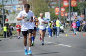 A group of marathon   competitors during the 27th Belgrade Marathon on   April 27, 2014 in Belgrade, Serbia — Stock Photo