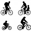 Recreational bicyclists silhouettes — Stock Vector