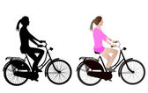 Female bicyclist silhouette and illustration — Stock Vector