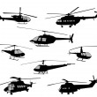 Helicopters silhouettes — Stock Vector #49496899