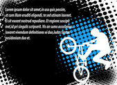 Bmx cyclist on the abstract background — Stock Vector