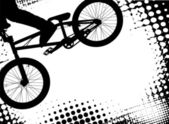 Bmx halftone background with copy space — Stock Vector