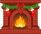 Christmas fireplace — Stock Vector
