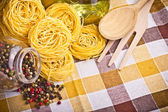 Italian pasta with olive, spices, cheese and parsley — Stock Photo