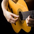 Closeup view of playing classic spanish guitar — Stock Photo #12356620