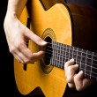 Closeup view of playing classic spanish guitar — Stock Photo #12356891