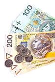 Beyaz arka plan üzerinde izole lehçe para banknot yığını — Stok fotoğraf