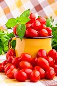 新鮮なトマトの完全な黄色マグカップ — ストック写真