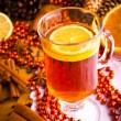 Mulled wine with cinnamon sticks and christmas anise stars — Stock Photo #14096374