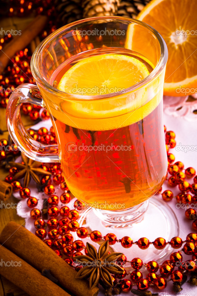 Mulled wine with cinnamon sticks and christmas anise stars  Stock Photo #16205813