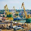 Cargo shipyard with gantry in Klaipeda, Lithuania — Foto Stock