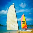 Sailboat at the ocean coast, Saint Lucia, Caribbean Islands — Stock Photo
