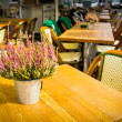 Vintage old fashioned cafe chairs with table in Copenhagen — Stock Photo