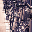 Classic vintage retro city bicycles in Copenhagen, Denmark — Stock Photo #18138069