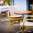 Vintage old fashioned cafe chairs with table in Copenhagen, Denm — Stock Photo #18138673
