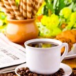 Stock Photo: Coffee cup with fresh coffe beans for breakfast