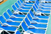 Close up view of blue deck chairs — 图库照片