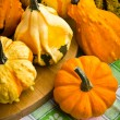 Several decorative pumpkins squash fruits — Stock Photo #19531219