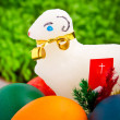 Easter eggs and lamb decoration - Stock Photo