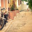 Classic vintage motorcycle in Athens, Greece — Stock Photo