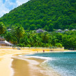 Beautiful beach in Saint Lucia, Caribbean Islands — Stock Photo #23866329