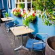 Vintage old fashioned cafe chairs with table in Copenhagen, Denm — Stock Photo #26172305