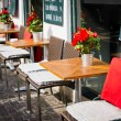 Stock Photo: Vintage old fashioned cafe chairs with table in Copenhagen, Denm