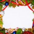 Beautiful blank card for christmas greetings with decoration — Stock Photo
