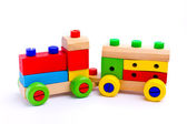 Colorful wooden toy train isolated on white background — Stock Photo