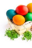 Beautiful decorative easter eggs isolated on white background — Stock Photo