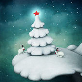 Snowy scenery fairytale hill with a christmas tree with a star and two rabbits in hats — Stock Photo