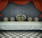 Fairy tale illustration for wonderland, room with table. — Stock Photo