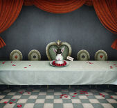 Fairy tale illustration with table and dish with rabbit, wonderland. — Photo