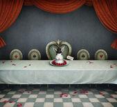 Illustration du conte de fées avec table et plat avec lapin, pays des merveilles. — Photo