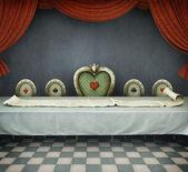 Illustration du conte de fées pour wonderland, salle avec table et long rouleau. infographie. — Photo