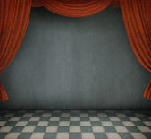 Illustration or background with curtains and floor, dark room. — Stock Photo