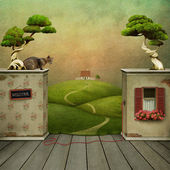 Surreal backdrop to placement and nature. — Stock Photo