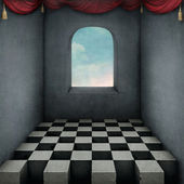 Illustration, location, background to room window chessboard. — Stock Photo