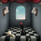 Illustration with two rabbits playing chess in room. — Stock Photo