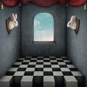 Ilustração com dois coelhos no quarto — Foto Stock