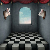 Illustration with two rabbits in room — Stock Photo