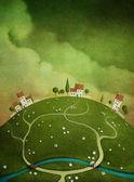 Fundo com casas na colina. — Foto Stock