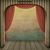 Pastel background with arch and curtains — Stockfoto