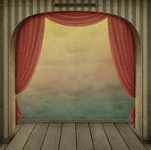 柔和背景与拱和窗帘 — 图库照片