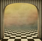 Background with exit of arch. Computer graphics. — Stock Photo