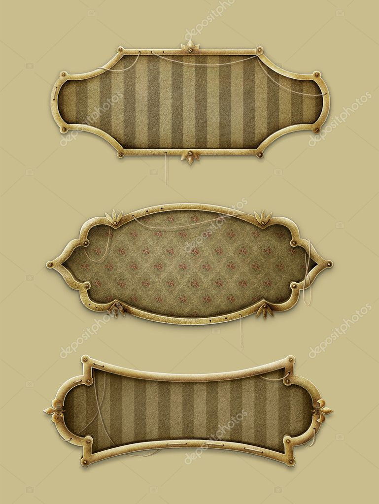 Three gold frames in vintage style stock photo annmei for Small vintage style picture frames