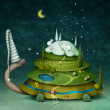 Fairy turtle, illustration or postcard or poster with the sleeping turtle and seasons. Computer graphics - Stock Photo